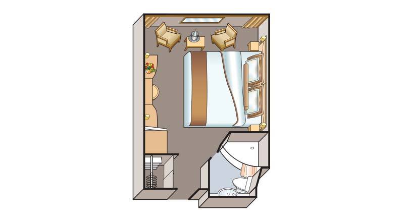 Floorplan of a Standard stateroom on a Viking river ship