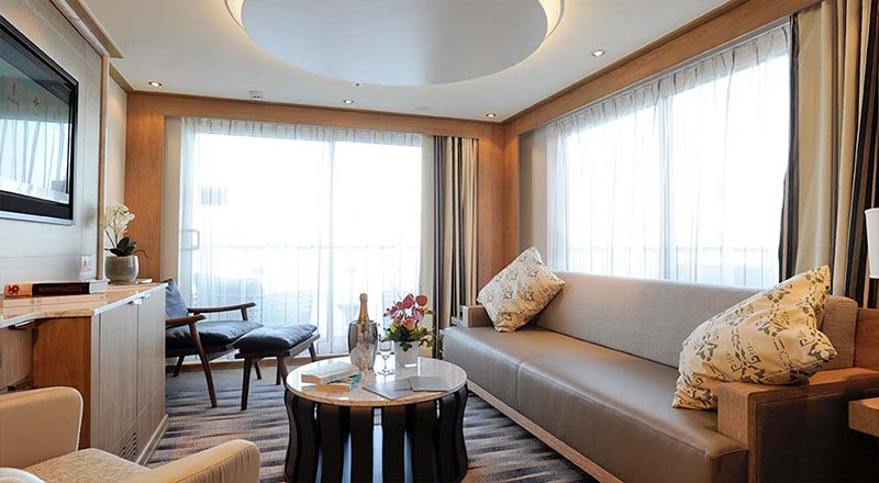 Living area in an Explorer Suite on board a Viking river ship