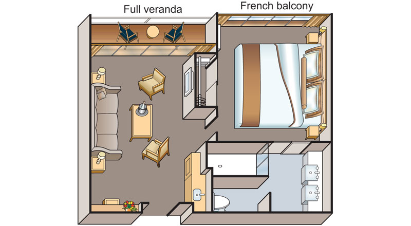 Veranda Suite floorplan on board Viking Nile