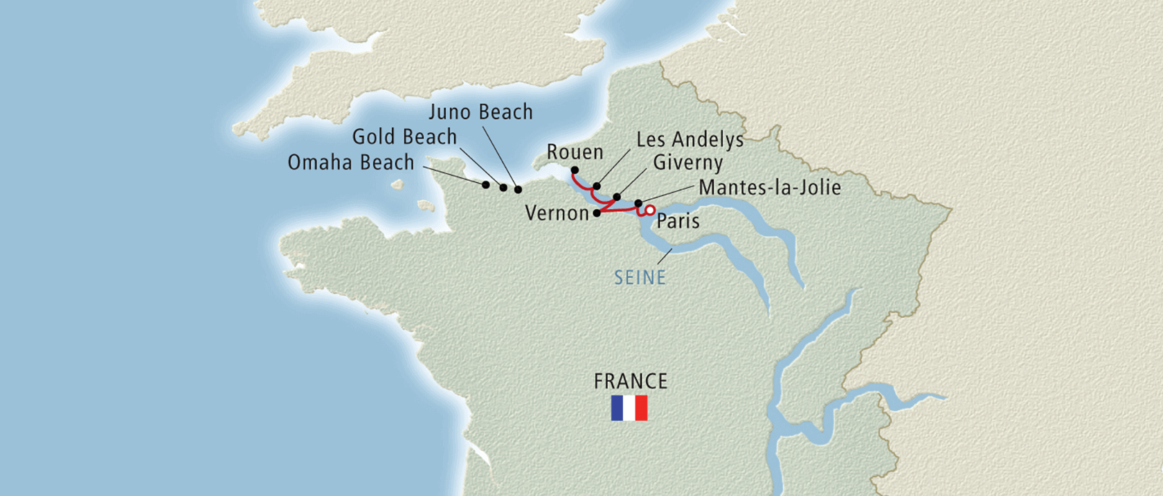 Map of Seine river region