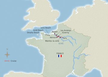 Map of'Paris and the Heart of Normandy' itinerary
