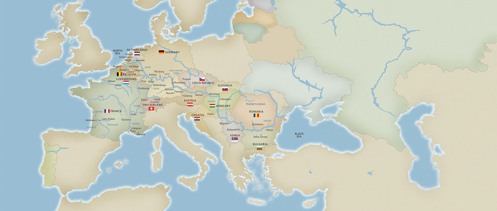 Map of where Viking sails in Europe