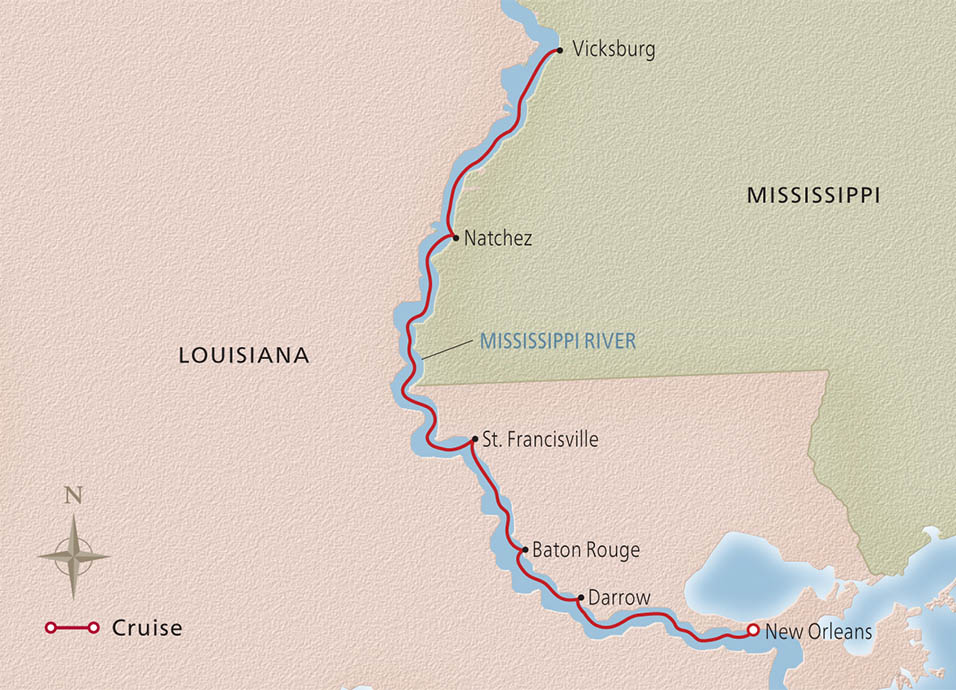 Map of the New Orleans & Southern Charms itinerary