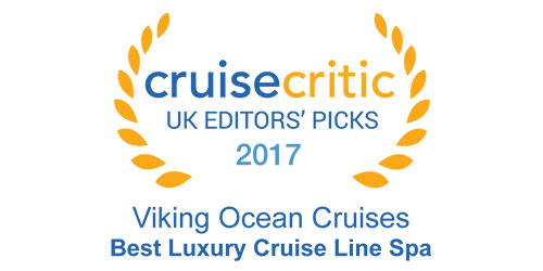 "Badge with text ""Cruise Critic - UK Editors' Picks - 2017 - Viking Ocean Cruises - Best Luxury Cruise Line Spa"""
