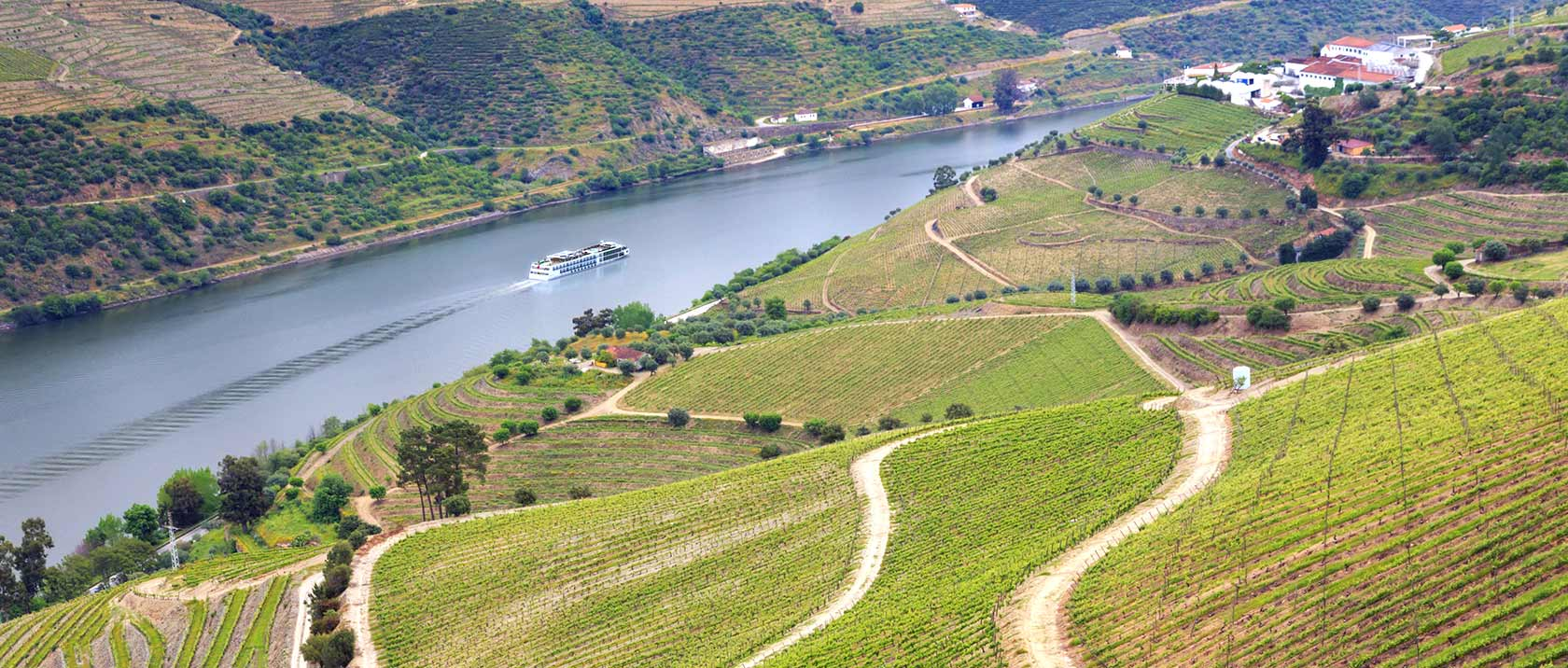 A Viking River Ship sailing down the Duoro as seen from a mountainside of green vineyards.