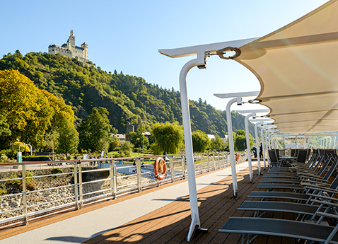Sun Deck chairs with a view of Marksburg Castle on a Viking River Longship.