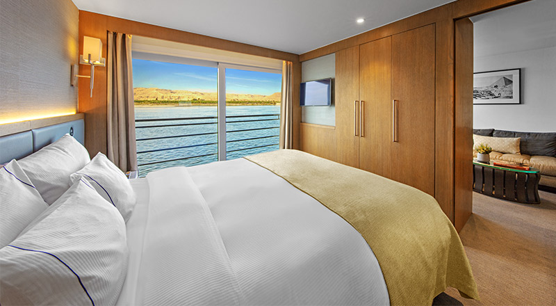 Veranda Suite bedroom on board Viking Ra