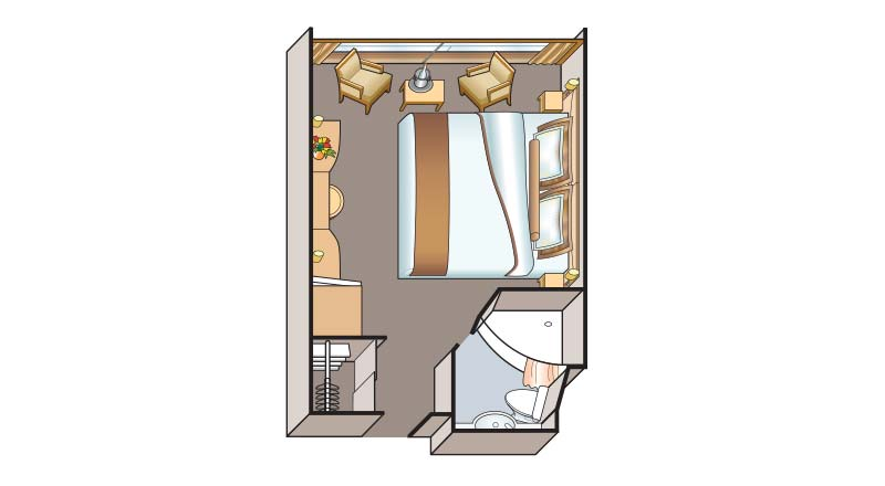 Illustrated schematic of the floorplan for a French Balcony Stateroom on the Viking Legend and Prestige.