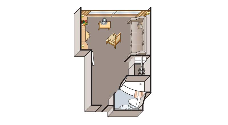 Illustrated schematic of the floorplan for a Single Stateroom on the Viking Legend and Prestige.
