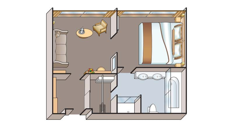 Illustrated schematic of the Legened and Prestige Suite Floorplan.