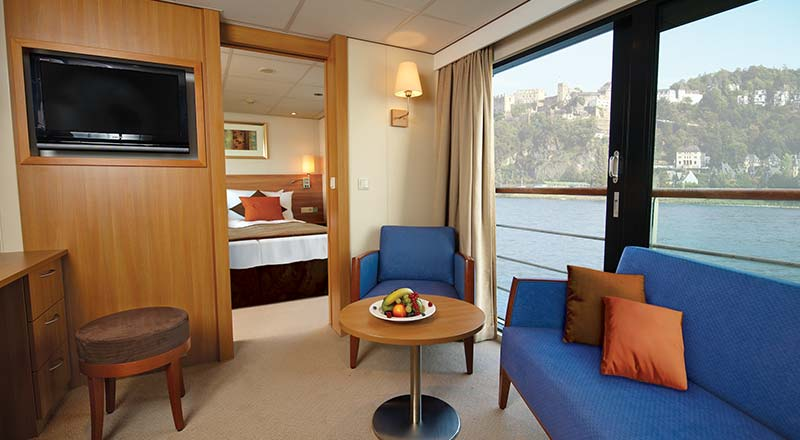 Living area of a Suite stateroom on board a Viking river ship