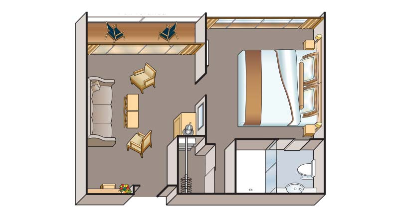 Floorplan of a Veranda Suite stateroom on a Viking river ship