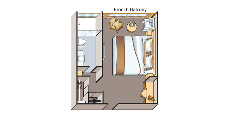 Floorplan of the French Balcony stateroom on board Viking Saigon