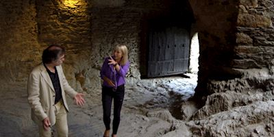 Karine Hagen and another person inside Marksburg Castle