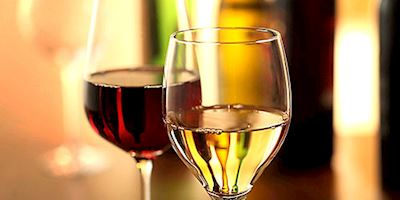 Glasses of red and white wine