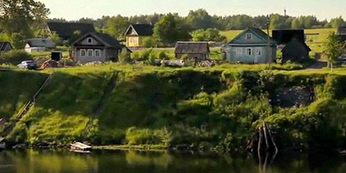 Russian country homes above a river