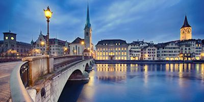 Zurich City Bridge at dusk